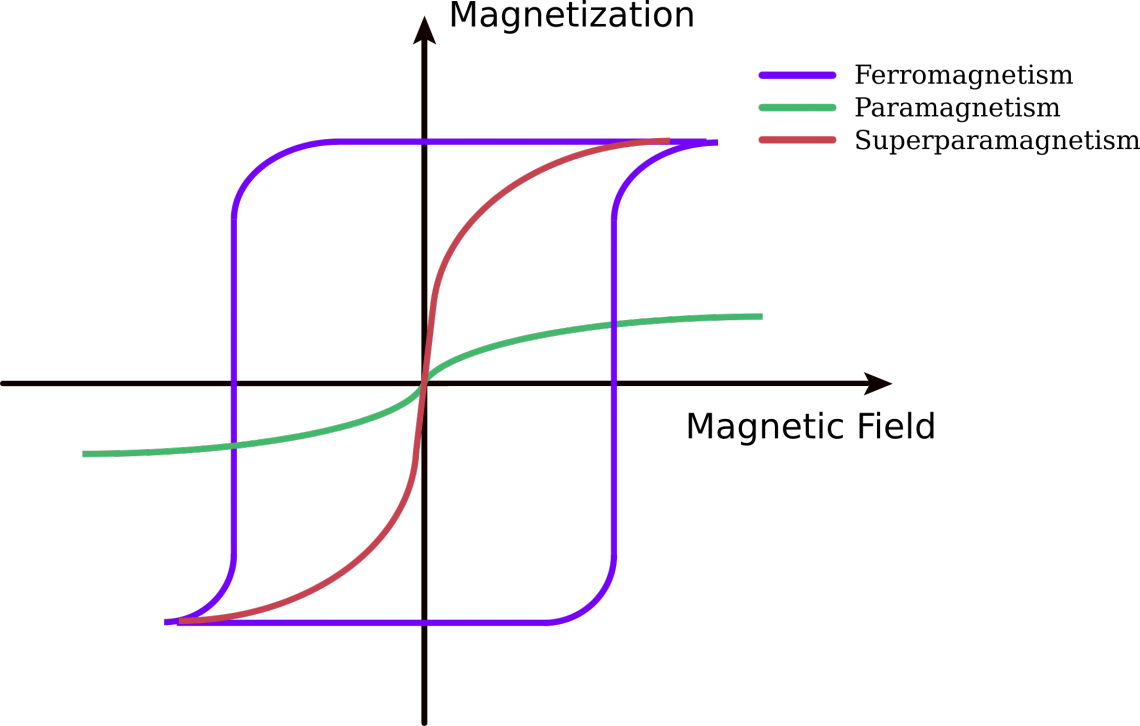 Figure 2. Under the influence of a magnetic field paramagnetic materials are magnetized, but when the magnetic field is removed this magnetization goes to zero. On the contrary, ferromagnetic materials present a remanent magnetization (MR) in the absence of the magnetic field. Superparamagnetic materials share properties of ferromagnetism and paramagnetism.
